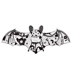 black-and-white bat vector image