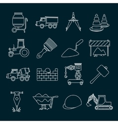 Construction icons set outline vector