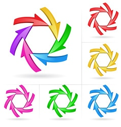 3d arrow color sketchy design elements set 5 vector image