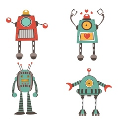 Colorful robot characters collection vector