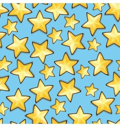 Cartoon stars against blue background seamless vector