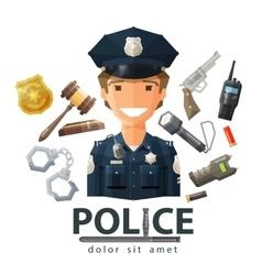 Police logo design template policeman cop vector