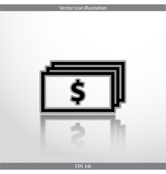 Banknotes with dollar sign web flat icon vector