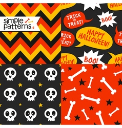 Set of 4 halloween seamless patterns vector