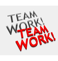 3d team work text design vector