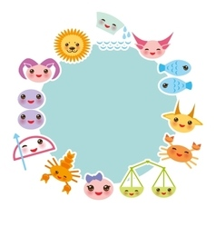 Funny kawaii zodiac sign light blue round frame vector