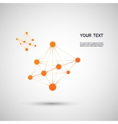 Orange abstract molecule on a white background vector