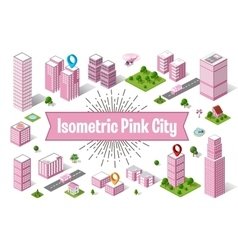 City pink skyscraper vector