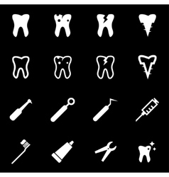 White dental icon set vector