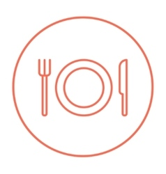 Plate with cutlery line icon vector