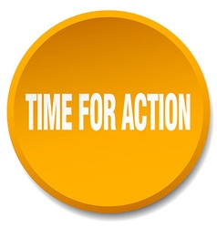 Time for action orange round flat isolated push vector