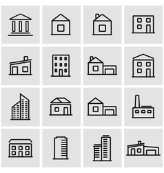 Line buildings icon set vector