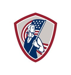 American Patriot Holding USA Flag Shield vector image vector image
