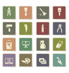 Art tools icon set vector