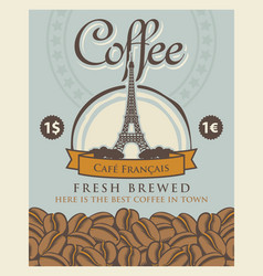 Banner with coffee beans and eiffel tower in paris vector
