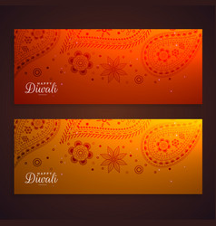 beautiful paisley banners for diwali festival vector image