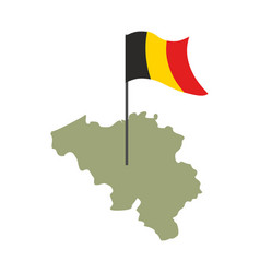 belgium map and flag belgian banner and land vector image