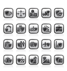 Business and industrial insurance icons vector image vector image