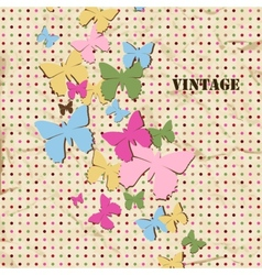 Butterfly background old paper texture and polka vector image vector image