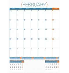 Calendar planner 2016 design template february vector