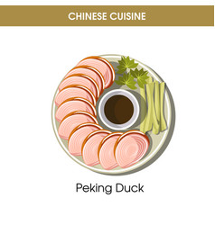 Chinese cuisine peking duck traditional dish food vector