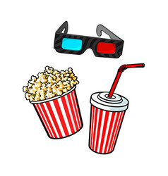 Cinema objects - popcorn bucket 3d glasses and vector