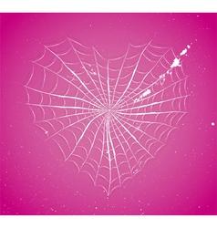 Cobweb heart vector image