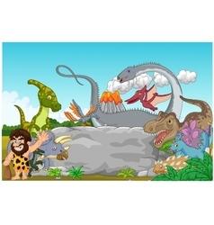 Collection dinosaur with caveman waving vector