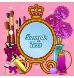 Cosmetic set with mirror and space for text vector image