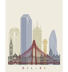 Dallas skyline poster vector image vector image