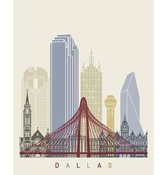 Dallas skyline poster vector