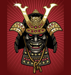 detailed of traditional samurai helmet and mask vector image