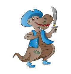 dinosaur pirate vector image