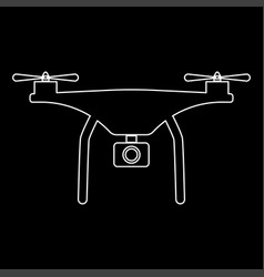Drone the white path icon vector