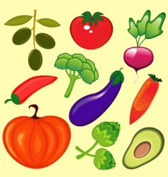 fresh vegetables set vector image