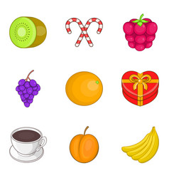 fruit supplement icons set cartoon style vector image