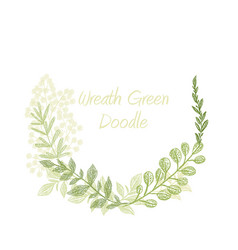 Greenery doodle hand drawn floral wreath vector