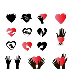 hands and heart icon set vector image vector image