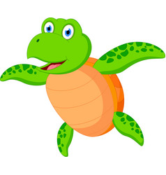 Happy sea turtle cartoon vector
