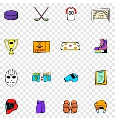 Hockey set icons vector image