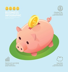 Infographic business currency money coins piggy vector