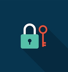 Lock and key icon flat design vector