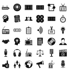 Mass communication icons set simple style vector