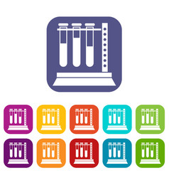 Medical test tubes in holder icons set vector