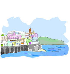 Mediterranean town sketch of sea town in vector