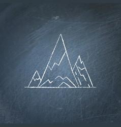 mountain peaks icon on chalkboard vector image