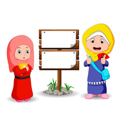 muslim kids cartoon with wooden sign vector image vector image