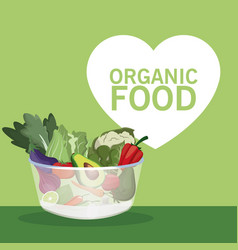 Organic food bowl with vegetables vector