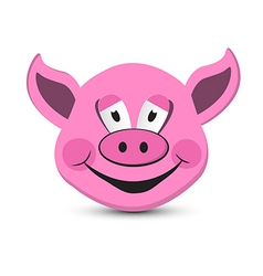 Pink Pig Head Isolated on White Background vector image