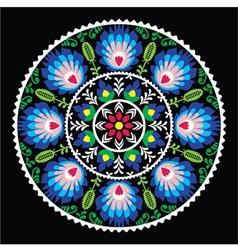 Polish traditional folk art pattern in circle vector